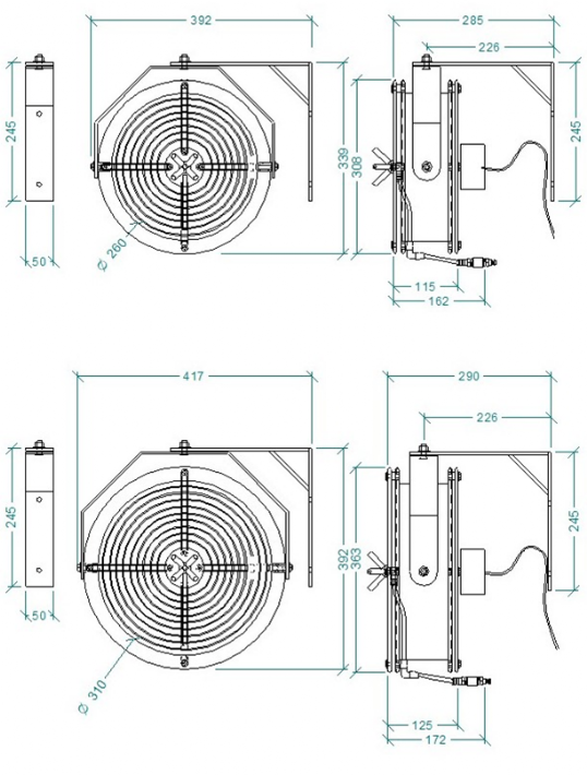 Misting fan dimentions